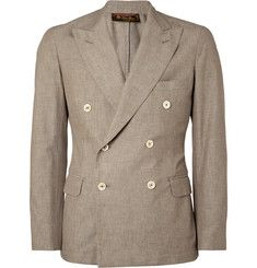 Loro Piana Unstructured Double-Breasted Cotton Blazer - with jeans and loafers for vibe or with white linen trousers for smart summer eve Outfit Man, La Mode Masculine, Brown Blazer, Mens Attire, Cotton Blazer, Double Breasted Blazer, Gentleman Style, Menswear, Mens Fashion