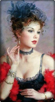 Dáma s červeným boa Vintage Art, Vintage Ladies, Victorian Paintings, Painted Ladies, Woman Painting, Painting Art, Painting Portraits, Fine Art, Portrait Art