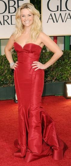 Who made Reese Witherspoon's red strapless gown, jewelry, and shoes that she wore to the 2012 Golden Globe Awards in Beverly Hills?