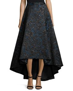 Floral+Jacquard+High-Low+Skirt,+Black/Blue+by+Alice+++Olivia+at+Neiman+Marcus.
