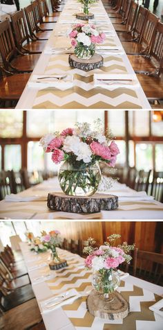 We're loving the combination of modern chevron patterns & rustic centerpieces for this garden wedding! {Photo Love}