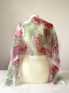 silk scarf Poppies with a white frame by Luiza Malinowska Minkulul On Etsy: https://www.etsy.com/listing/195776569/long-silk-scarf-poppies-scarves-hand?ref=shop_home_active_24 #minkulul #silkscarf