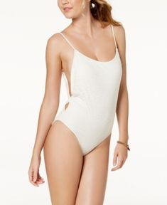Roxy Surf Memory Crochet Cheeky One-Piece High-Leg Swimsuit - White XS Traje ee45493e22e