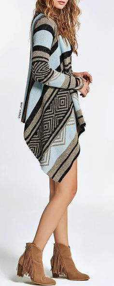 Tribal Knit Hanky Hem Cardigan