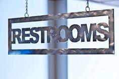 Ei8hty Ni9e West | Custom Metal Restroom Sign #interiordesign