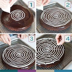 Next, cut a tiny hole in the tip of the bag. Make a spiral design starting in the middle of the brownie and going all the way to the edge. Then, drag a toothpick from the center of the spiral to the o (Halloween Dessert Recipes) Halloween Desserts, Scary Halloween Treats, Halloween Torte, Bolo Halloween, Halloween Goodies, Halloween Food For Party, Halloween 2016, Halloween Birthday, Halloween Kids