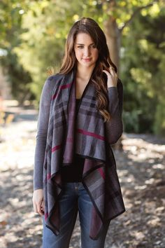 Fall Fashion, Fall Cardigan, Plaid Cardigan, Burberry Plaid Cardigan, OOTD- Mad For Plaid Cardigan-Charcoal by Jane Divine Boutique http://ss1.us/a/vaGnTQnh