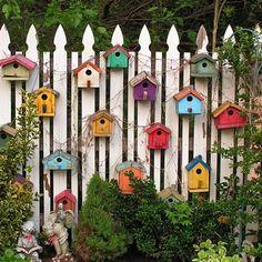 Bird Houses on Fence Jigsaw Puzzle