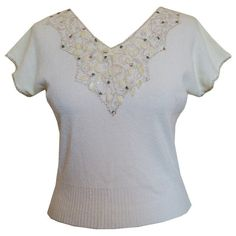 Soutache embellished 1950s white cap sleeved top with pearlescent leaves from Candy Says Vintage Clothing www.candysays.co.uk