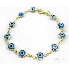 Pulseira Folheada Ouro 18k Olho Grego Turco Azul Claro c/ Garantia  - Drika Jóias & Acessórios