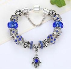 Palm Hamsa Charm evil eye Bracelet with murano beads (European style beads)