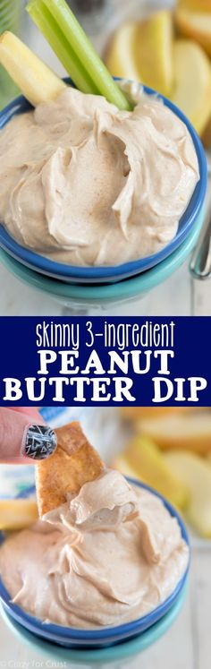 This Skinny Peanut Butter dip has only 3 ingredients! It's such a healthier fruit or cracker dip option - low sugar and high protein!