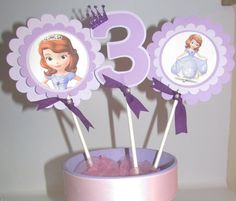 Sofia The First Birthday Party Centerpiece by KhloesKustomKreation, $12.00