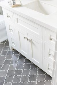 """Gray floor tiles. The gray tiles are 6"""" Arabesque Iron City Crackle tile is from Famosa Tiles. Gray Arabesque Tiles. #Graytiles #graytiling #ArabesqueIronCityCrackletile #Crackletile Patterson Custom Homes"""