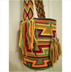 Wayuu Mochila Bag, Handmade Cotton Large Multicolor Boho Hippie #6