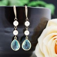 Swarovski Pearls with Aquamarine Glass drops Earrings from EarringsNation
