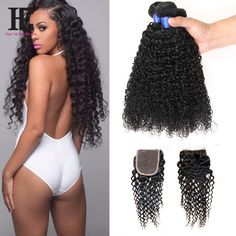 8A Brazilian Curly Virgin Hair With Closure 3 Bundles With Closure Brazilian Virgin Hair With Closure HC Human Hair With Closure