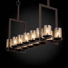 Justice Fusion Dakota 14 Light Dark Bronze Tall Bridge Chandelier