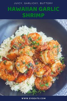 garlic shrimp recipes Juicy prawns cooked in a garlicky buttery sauce, this Hawaiian Garlic Shrimp is just like the shrimp trucks you'd find in Hawaii. Shrimp Recipes For Dinner, Prawn Recipes, Seafood Recipes, Cooking Recipes, Healthy Recipes, Cooking Ribs, Fish Recipes, Hawaiian Garlic Shrimp, Spicy Garlic Shrimp