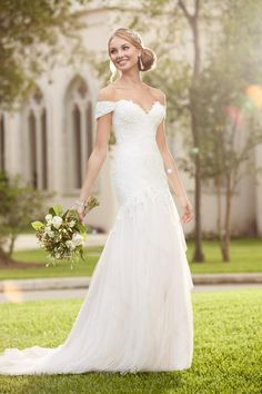 Off the shoulder wedding dress by Stella York
