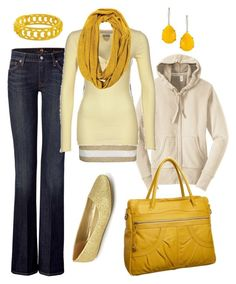 """yellow fever"" by htotheb ❤ liked on Polyvore featuring 7 For All Mankind, BKE, Hilfiger Denim, Old Navy, Latico, Kendra Scott, cream, gold, yellow and white"