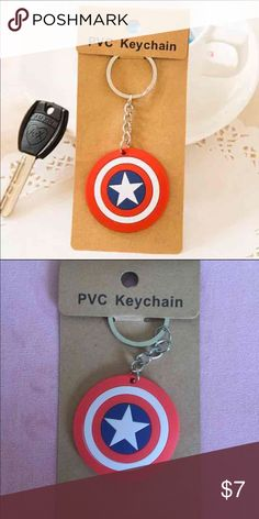 Captain America keychain One captain America shield keychain included only. Please see the second picture for the actual product you will receive. Thanks!                                                                 Bundle price: 2 for $12 Accessories Key & Card Holders