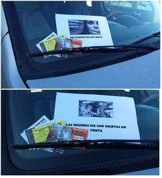 """""""Sin clientes no hay trata"""". Desde hace aproximadamente un año todos los días en los coches de mi barrio, Puerta del Ángel, aparece publicidad de pisos en los que se ejerce prostitución. Por eso he pensado hacer carteles con mensajes dirigidos a los posibles clientes y dejarlos en los parabrisas de los coches junto a los anuncios de los pisos en los que se ejerce prostitución. AUTOR/A: LAURA."""