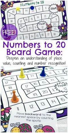 FREE Spring Numbers to 20 Board Game FREE Spring Counting Game to help Kindergarten age kids practice numbers 1 20 (math games, math centers, homeschool) Homework Games, Math Board Games, Fun Math Games, Kids Counting Games, Counting To 20, Learning Games, Free Games, Kids Learning, Numbers Kindergarten