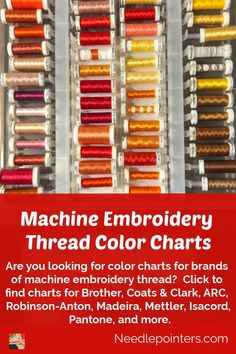 Are you looking for color charts for brands of machine embroidery thread? Here you will find thread color charts for all major machine embroidery thread brands - Brother, Coats & Clark, ARC, Robinson-Anton, Madeira, Mettler, Isacord, Pantone, and more. Janome Embroidery Machine, Embroidering Machine, Brother Embroidery Machine, Machine Embroidery Projects, Embroidery Machines, Learn Embroidery, Embroidery Monogram, Embroidery Fonts, Embroidery Ideas