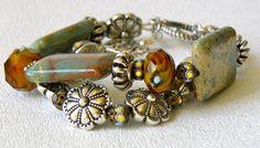 Jasper and Silver Handmade Beaded Bracelet by bdzzledbeadedjewelry, $36.00