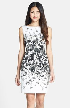 Free shipping and returns on Maggy London Print Bateau Neck Cotton Sheath Dress (Regular & Petite) at Nordstrom.com. A shadowy floral print draws the eye to the narrowest part of the figure on an elegant bateau-neck sheath designed for a classic feminine silhouette.