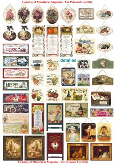 Dollhouse printables from Miniaturas magazine  http://www.cdhm.org/printies/signs.jpg