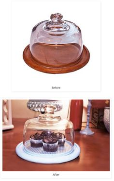 Thrift Store Find: Cake Display Makeover! http://www.20goingon80.com/2011/07/thrift-store-find-1-adorable-cake.html