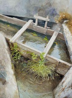 農業水路,Agricultural waterway,Original Watercolor painting by Masato Watanabe