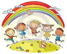 Illustration about Kids jumping with joy on a hill under rainbow, colorful cartoon. Illustration of drawing, illustration, good - 48710213 Hello Songs Preschool, Kindergarten Clipart, International Children's Day, Circle Time, Child Day, Creative Sketches, Happy Kids, Business Card Logo, Art For Kids