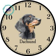 """Black Dachsund Little Dog Art - -DIY Digital Collage - 12.5"""" DIA for 12"""" Clock Face Art - Crafts Projects by CocoPuffsDesigns on Etsy"""
