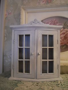 Small Hanging or Sitting Shabby White Curio CabinetVintage Style~Shabby~Cottage #Cottage