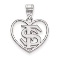 Fan Apparel & Souvenirs College-ncaa Florida State Seminoles Sterling Silver Heart Charm Discounts Sale