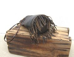 Vintage Fringed Chocolate Brown Leather Egyptian by Trustfund21