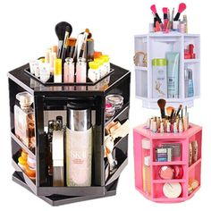 Spinning 360 Degree Rotating Assembly Spinning Rack Cosmetics Organizer Makeup Tower from ACRYLICBOXES on Etsy. Saved to 19th birthday .