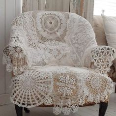 doily chair - would look lovely in the pretty blue & white spare room