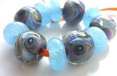 Effervescent Blues  handmade lampwork bead set by FlamingEck, £14.50