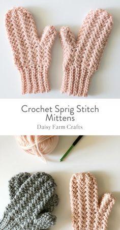 Free Pattern - Crochet Sprig Stitch Mittens