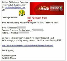 My 5th Payment from ACX - Ad Click Xpress (It is actually Amazing Cool revXchange program according to me :-) ) Program  !!  Date: 03.09.15 05:56  To PayProcessor Account = U******* Amount: 17.57 Currency: USD Batch: 100617743 Memo: API Payment.Ad Click Xpress Withdraw 4430359-114852. Payment ID: 114852   ACX is 100% legit program that surprises you with its fast daily payments.