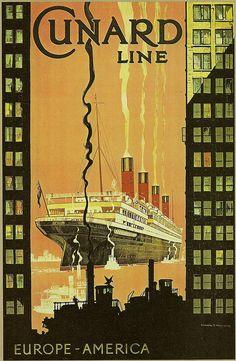 Cunard Line (RMS Aquitania) Circa 1920's by Custom_Cab, via Flickr