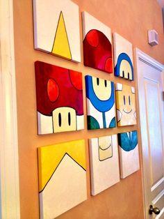 Mario wall art idea #KidsBedroomFurniture