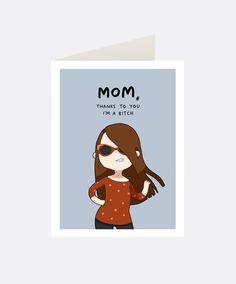 Thanks, Mom Greeting Card | Lingvistov