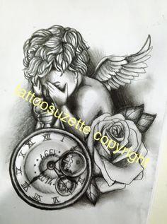 angel clock tattoo design by tattoosuzette on DeviantArt Baby Tattoos, Time Tattoos, Body Art Tattoos, Sleeve Tattoos, 3d Tattoos, Tatoos, Time Clock Tattoo, Time Piece Tattoo, Clock Tattoos