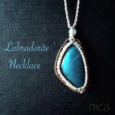 Labradorite ラブラドライトマクラメネックレス