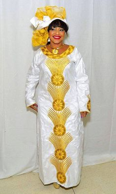 White and gold embroidered African maxi dress by NewAfricanDesigns